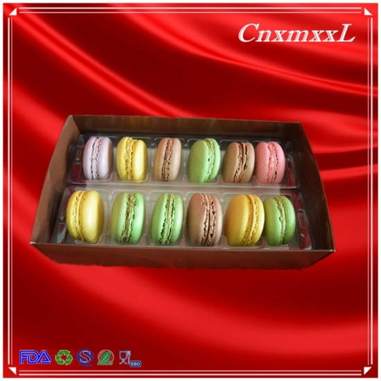 12 pcs macarons paper box with low price art paper material and cake use mini macaron box